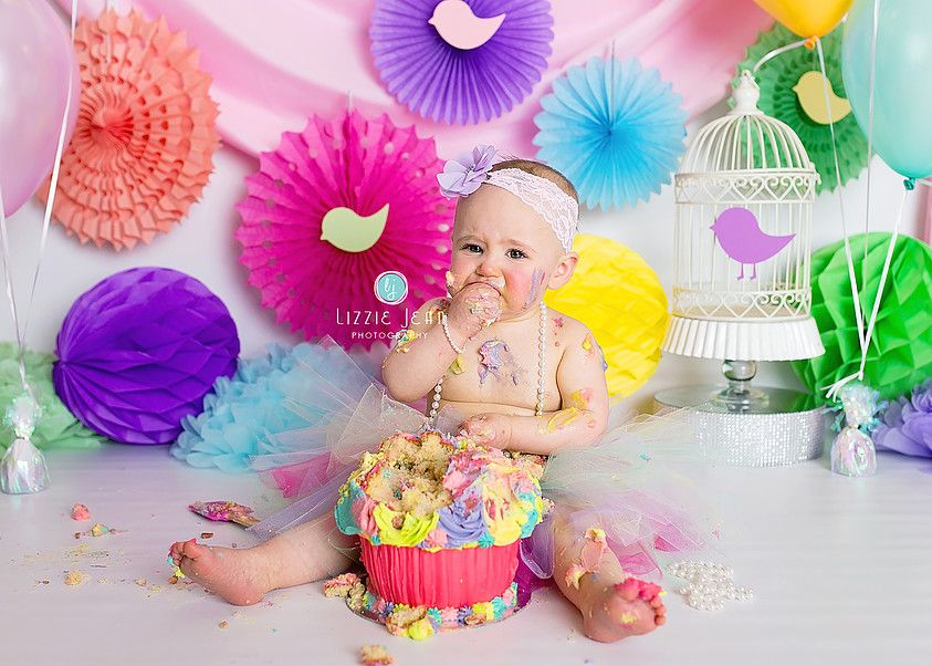 Rainbow cake smash professional photographer melbourne photographer werribee newborn photography cheap photographer werribee cake smash