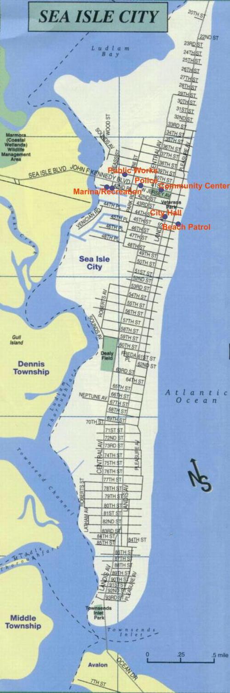 Sea Isle City Map Sea Isle City, New Jersey city street map, cute print and frame