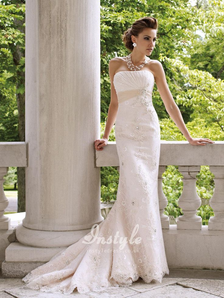 Awesome Simple Lace Wedding Dress Strapless Slim Uk With Crystal Embroidered Empire Waistband