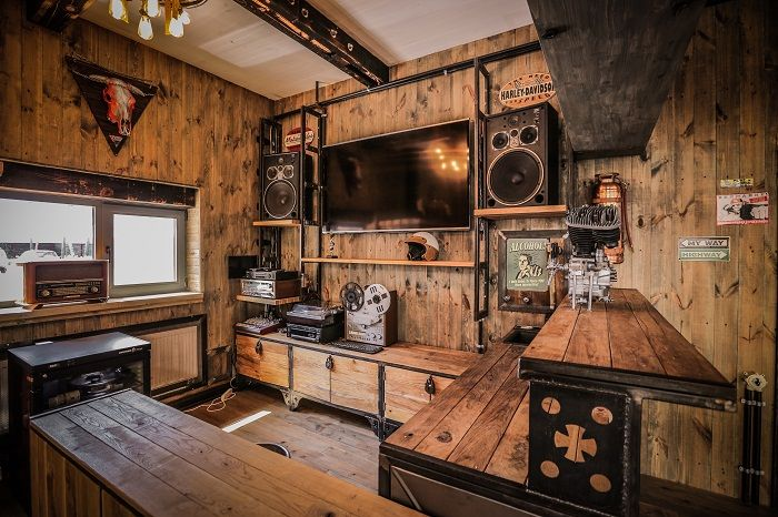 crazy bbq a bikers complex infused with vintage and industrial character restaurant bathroomrestaurant interiorssteampunk - Steampunk Interior Design Ideas