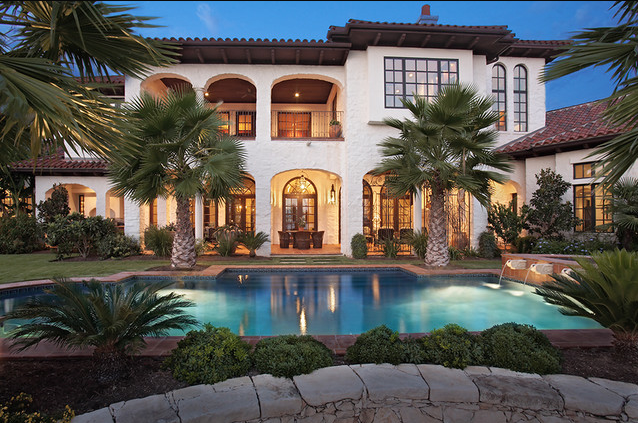 Mediterranean Tuscan Home Exterior Pool Side | Mediterranean Tuscan on tuscan custom home designs, french mediterranean home designs, italian villa home designs, spanish mediterranean home designs, luxury mediterranean home designs, tuscan home ideas,