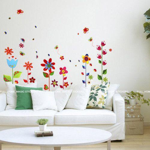 Details about Flowers & Butterflies Wall Stickers Art
