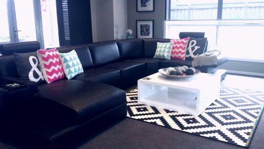Black White Pink Aqua Living Room Ideas Pop Art Decor
