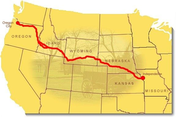 Image map showing the route of the Oregon National Historic Trail ...