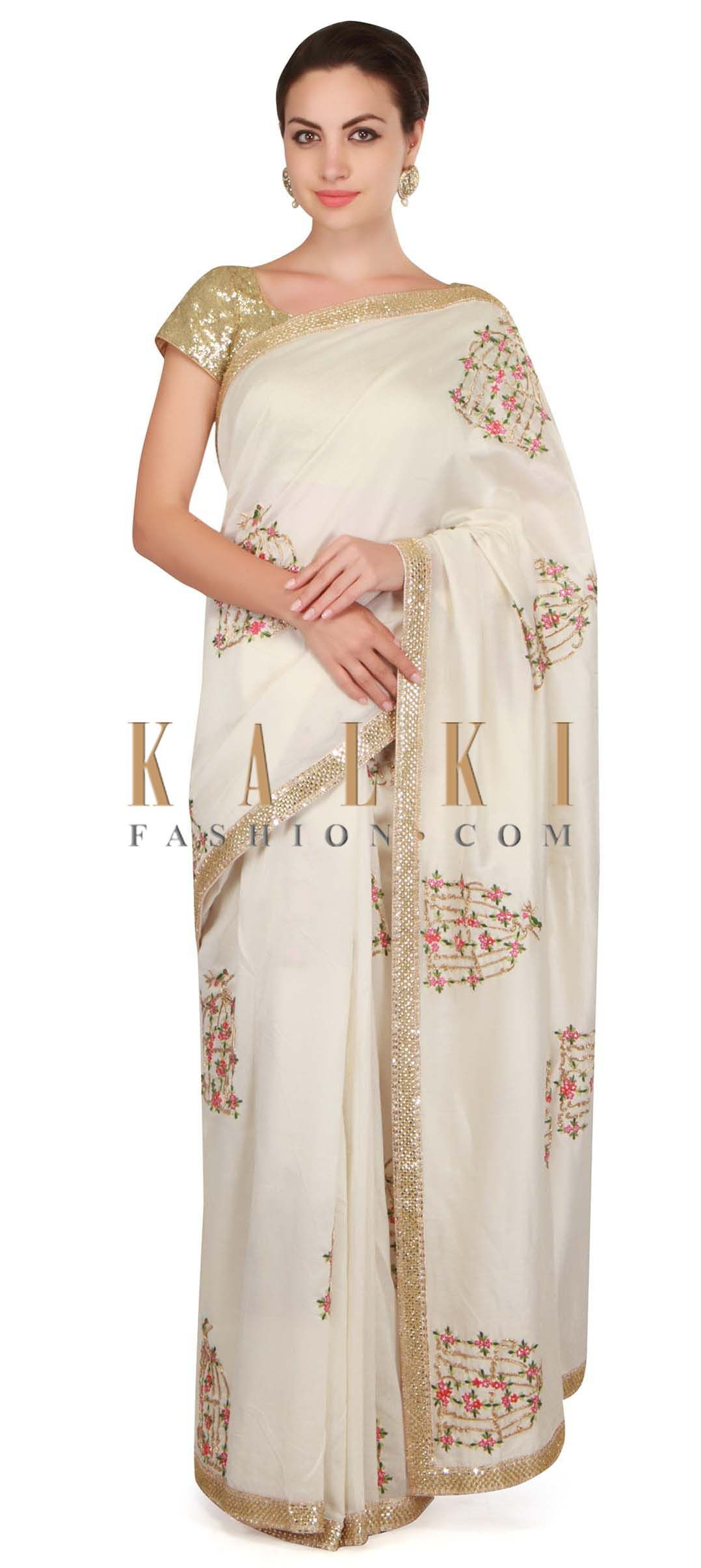 d0851095d7103 Buy Online from the link below. We ship worldwide Click Anywhere to Tag  Cream saree in satin silk with a brocade blouse adorn in cut dana work only  on Kalki ...