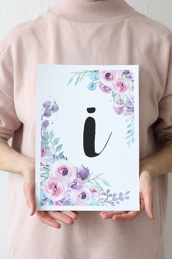 Letter I Poster Typography initial poster Floral watercolor