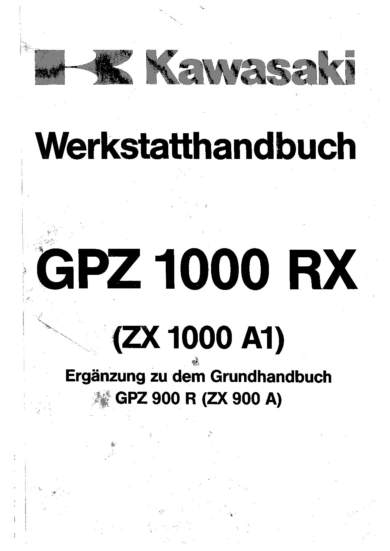 Kawasaki GPZ 1000 RX GPZ 900 R Repair Manual Suplimentar