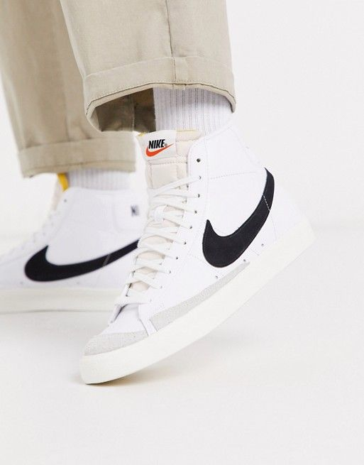 Nike Blazer Mid '77 trainers in white/black | ASOS