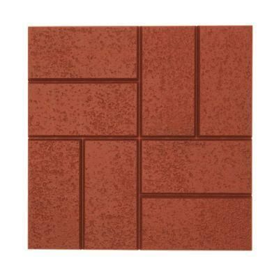 Emsco Brick Pattern Resin Patio Pavers, Deep Red, 12 Pcs