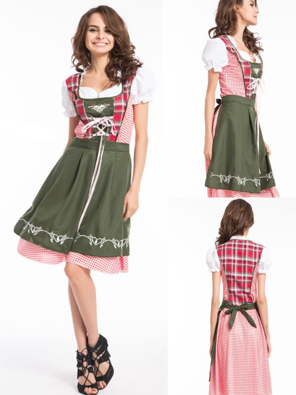 Oktoberfest German Heidi Dirdnl Leiderhosen Beer Girl Fancy Dress Up Costume