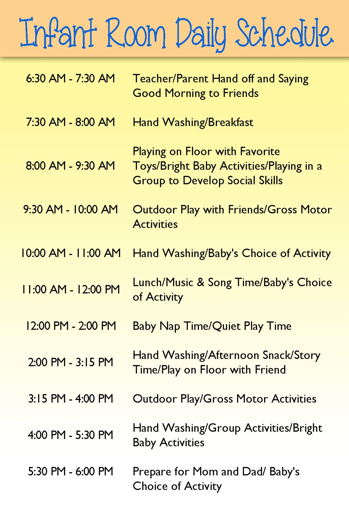 Infant Day care schedule | Infants | Pinterest | Infant, Infant ...