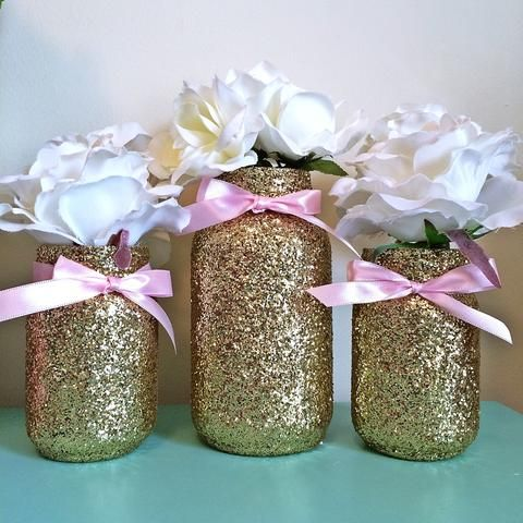 3 Jars, Pink And Gold Mason Jar Set, Centerpiece Set, Pink And Gold. Centerpieces  Baby ShowersMason ...