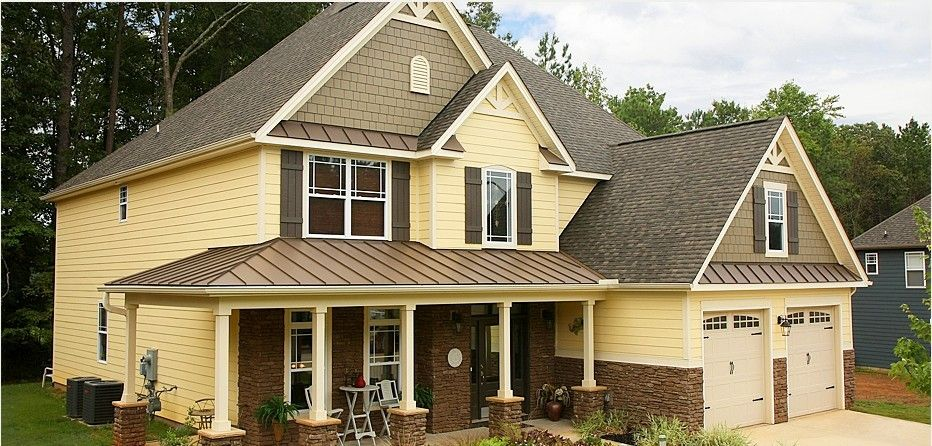 Love The Colors Brown Brick With Yellow Siding Yellow House