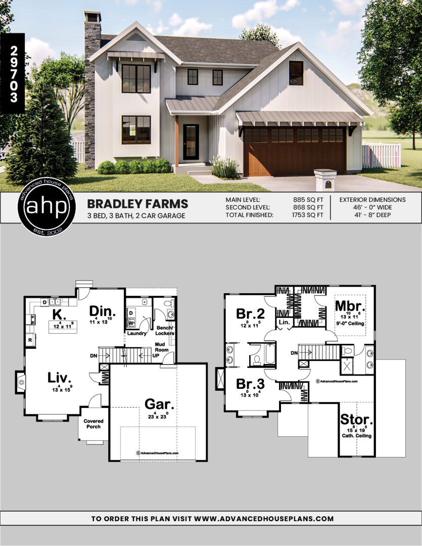 2 Story Modern Farmhouse House Plan Bradley Farms House Plans Farmhouse Family House Plans Guest House Plans