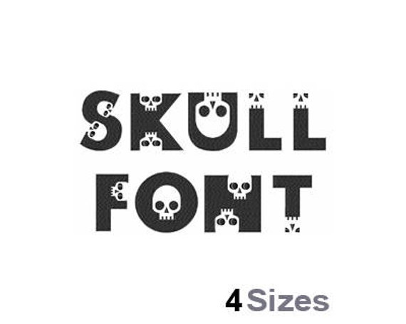 Skull Font - Machine Embroidery Font - 4 Sizes, Lettering, Letters