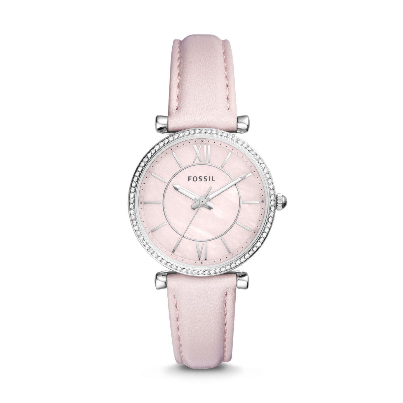 Carlie Three-Hand Pastel Pink Leather Watch