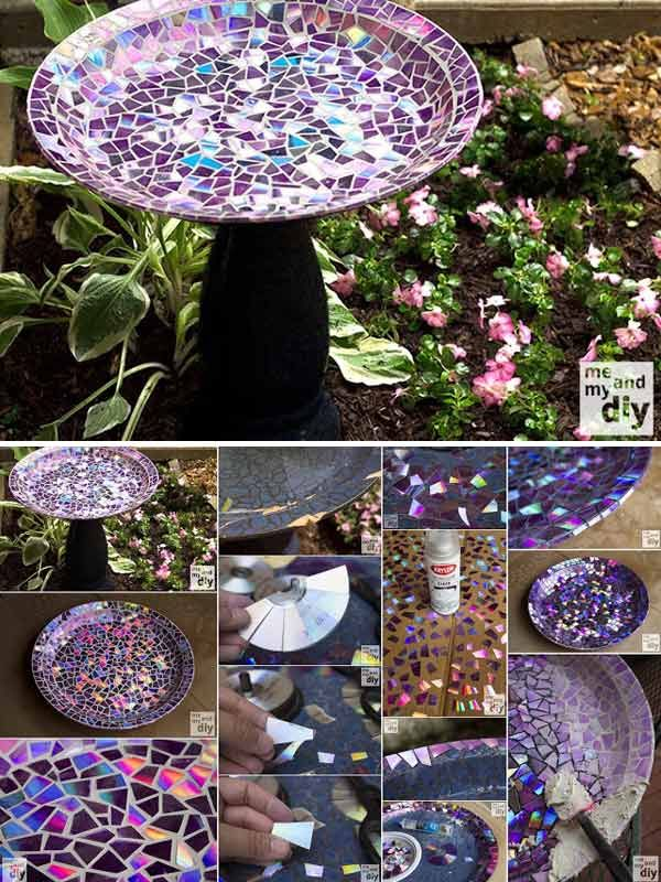 Creative DIY Birdbath With Recycled DVDs.......DIY Super Exciting Ideas to Recycle Old CDs and DVDs