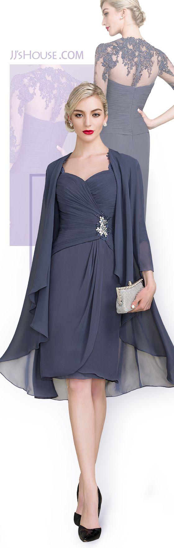 Sheathcolumn kneelength chiffon mother of the bride dress with