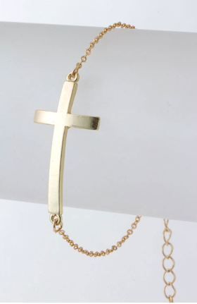 Side Cross Bracelet! NEW ADDITION to Shop Moxie <3 FREE SHIPPING $8.00 @ http://shop.shopmoxiecloset.com/Gold-Side-Cross-Bracelet-0040.htm