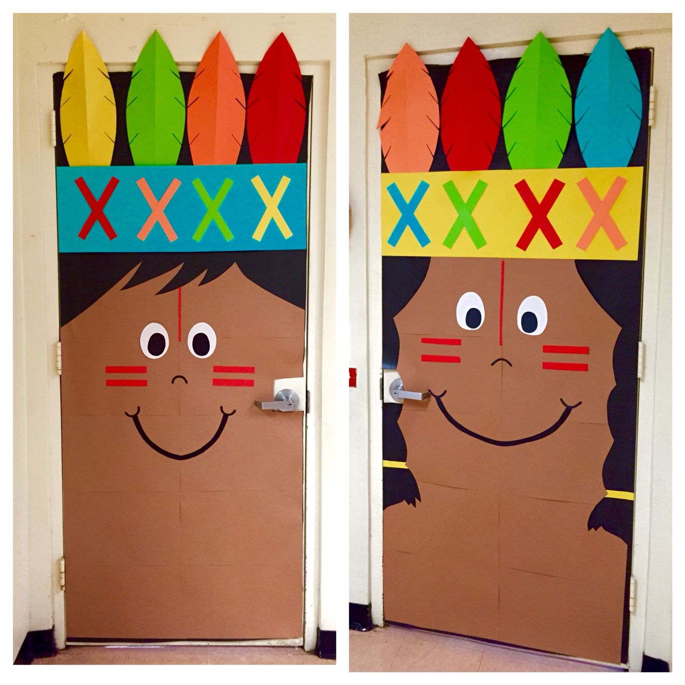 Thanksgiving classroom holiday Indian kindergarten door ...