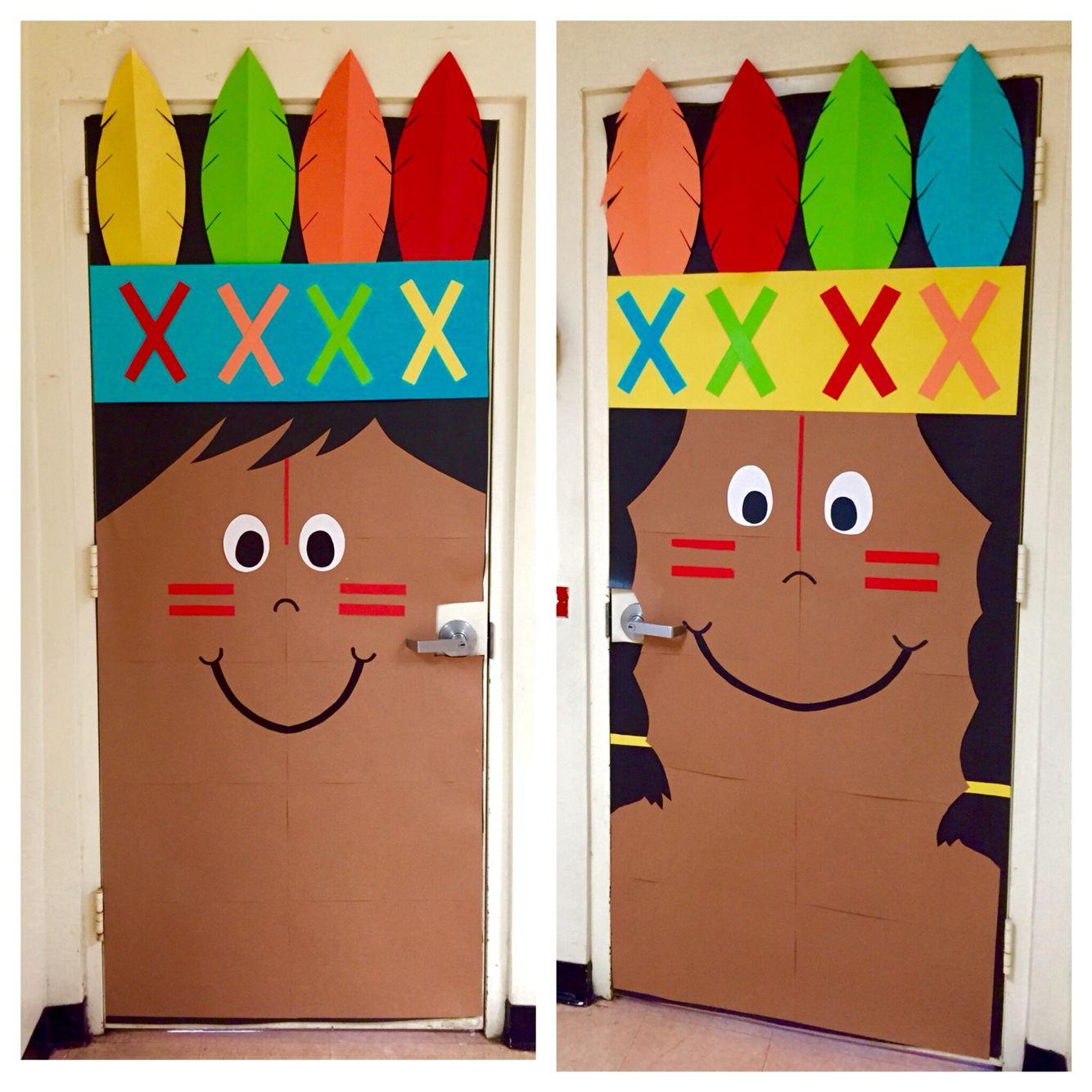 Thanksgiving classroom holiday Indian kindergarten door ...