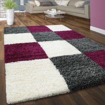 Hochflor Teppich Mit Karo Muster In Lila, Weiß Und Grau #teppich #shaggy