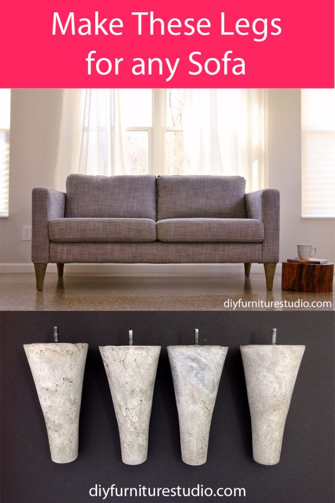 Learn How To Make Cement Mid Century Modern Style Sofa Legs For Ikea And Other Brand Sofas Replacement Sofa Legs Sofa Legs Mid Century Modern Style Sofa