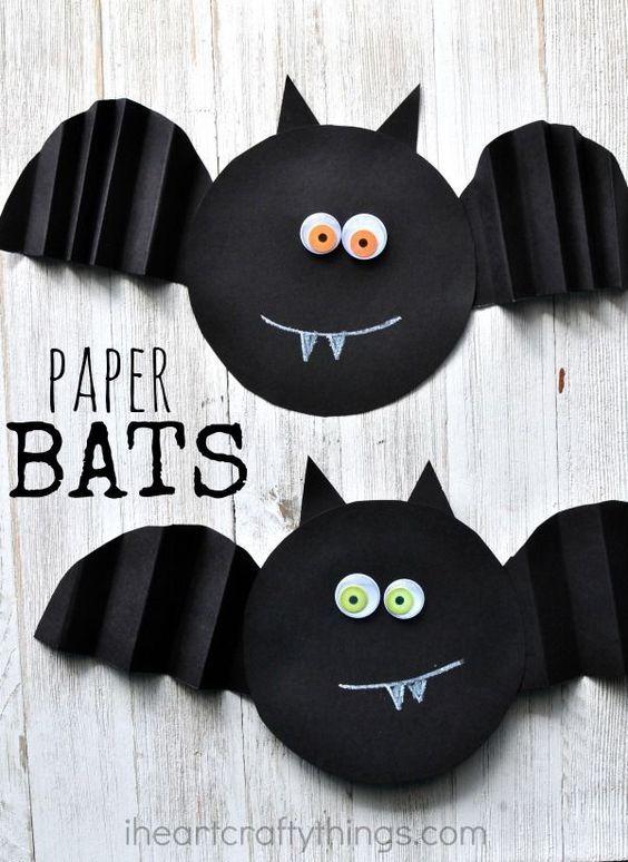 Simple Accordion Fold Paper Bat Craft  Preschool Halloween Paper