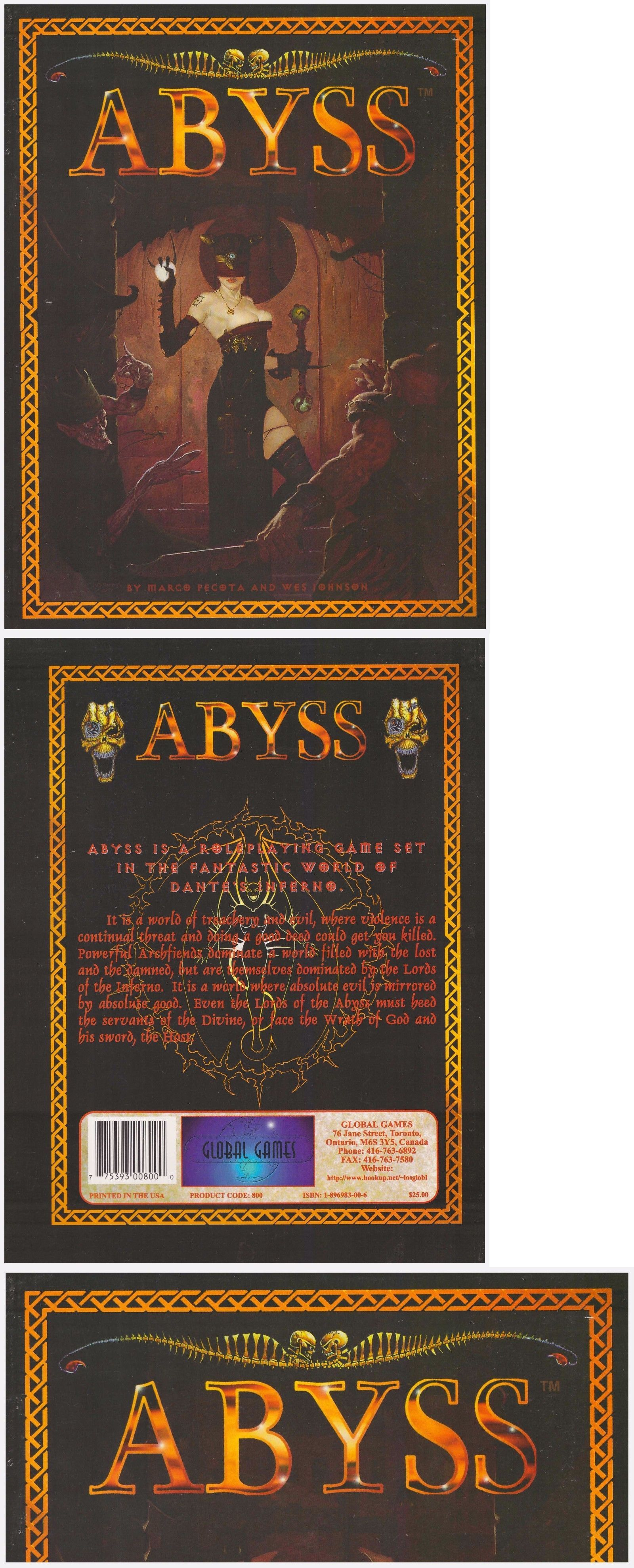 Horror 2546: Abyss: Dante S Inferno - Rpg Core Book - Roleplaying In