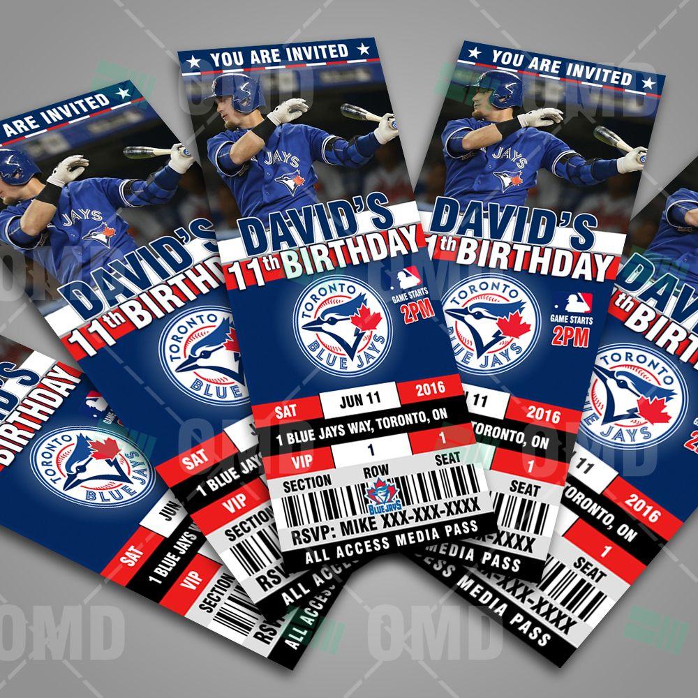Date Ideas Toronto: Toronto Blue Jays Ticket Style Sports Party Invitations