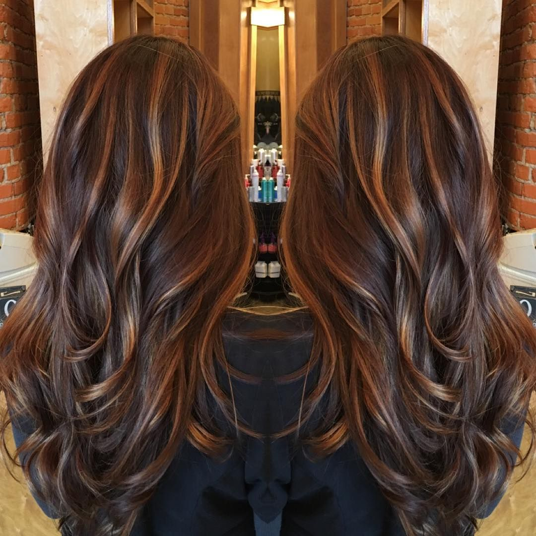 caramel balayage highlights on a rich chocolate brown base. Black Bedroom Furniture Sets. Home Design Ideas