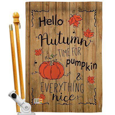 Breeze Decor Bo Hello Autumn Time For Pumpkin 2-Sided Polyester 2.3 x 3.3 ft. Flag set | Wayfair #helloautumn