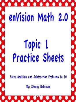 enVision Math 2.0 Topic 1 Practice Sheets Grade 1 | enVision Math ...