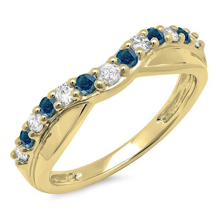 7f5ca3522e675 Dazzlingrock Collection 0.55 Carat (ctw) 14K Gold Round Cut Blue ...