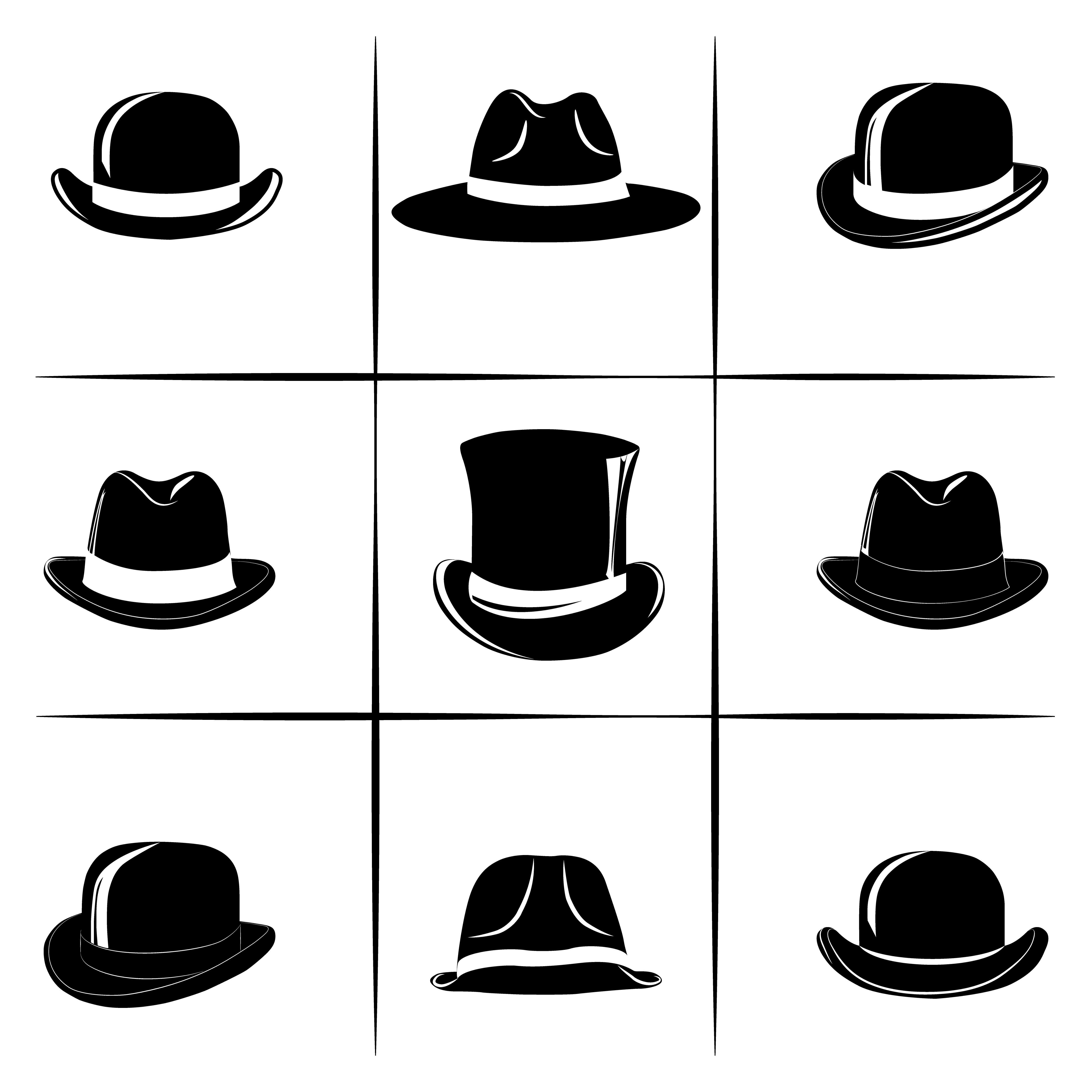 Vector Set With Different Versions Of The Man S Hats Gentleman Gentlemen Hat Bowler Derby Top Hat Cylinder Head Hats For Men British Hats Gentleman Hat