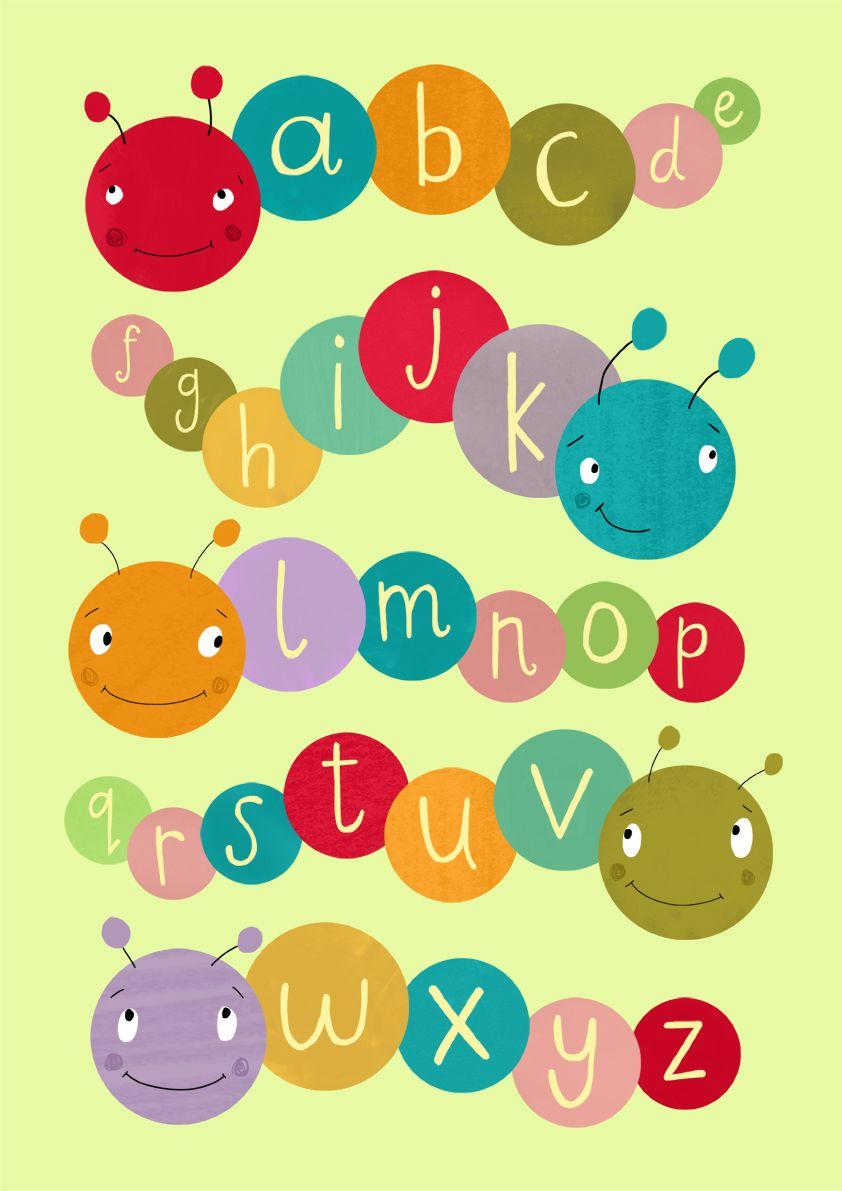 Caterpillar alphabet poster illustrated by Becky Down.   Tipografía ...