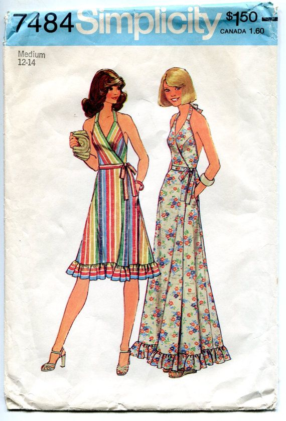 1970s Halter Wrap Dress Pattern Front Wrap Day Or Evening