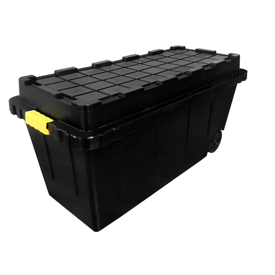 Commander 64 Gallon 256 Quart Black Tote With Latching Lid Lowes Com Storage Storage Bins Tote Storage