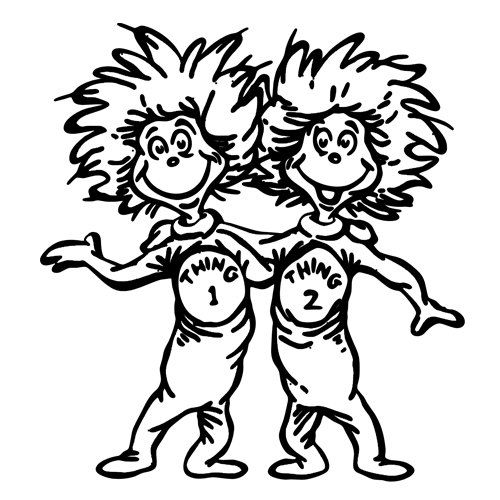 Thing 1 And Thing 2 Hugging Coloring Page Tole