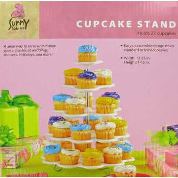 White Five Tiered Cupcake Stand With Images Cupcake Stand