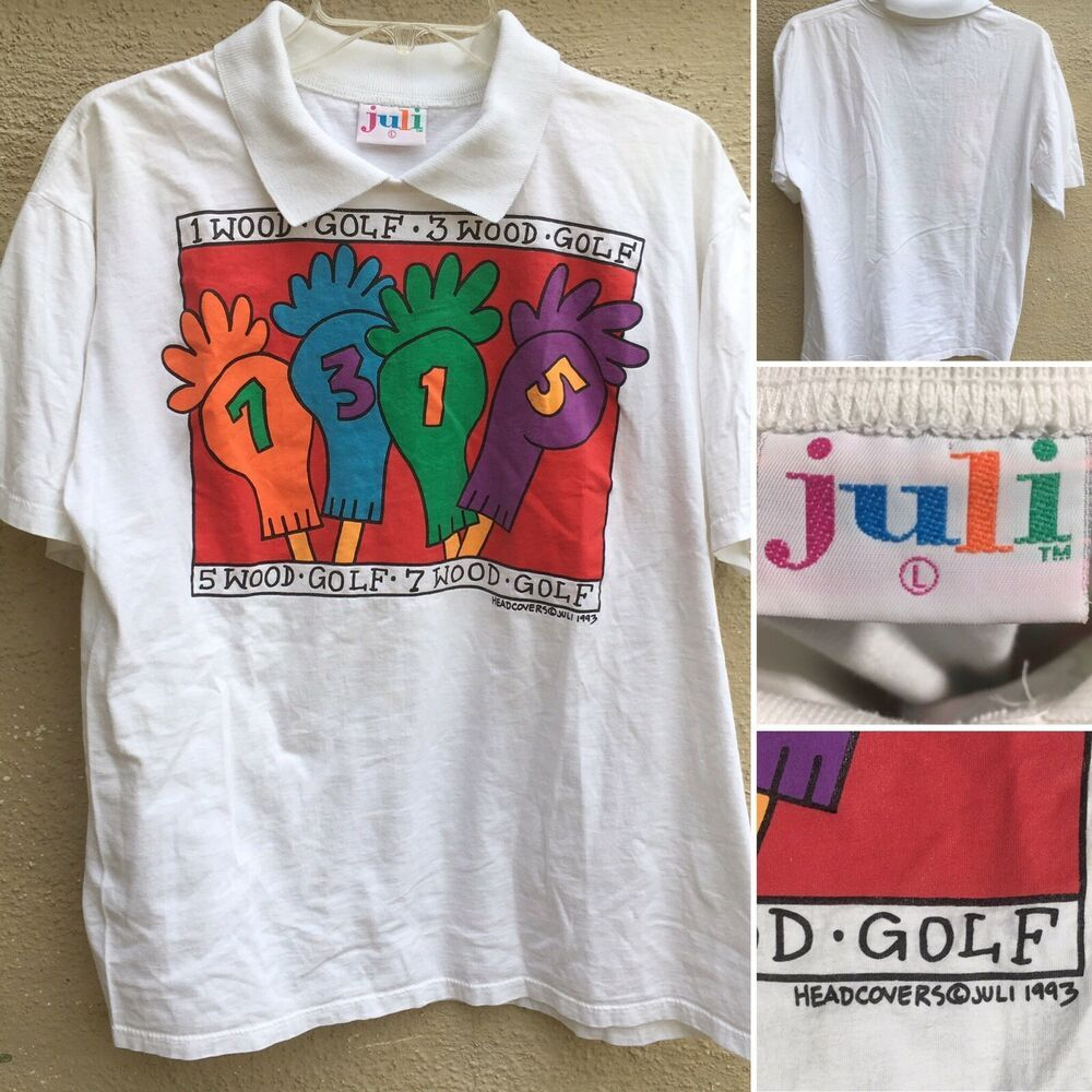 Vintage Golf T Shirt With Collar Headcovers C Juli 1993 Sz L 90s 1990s Ebay Golf T Shirts Shirts Vintage Golf