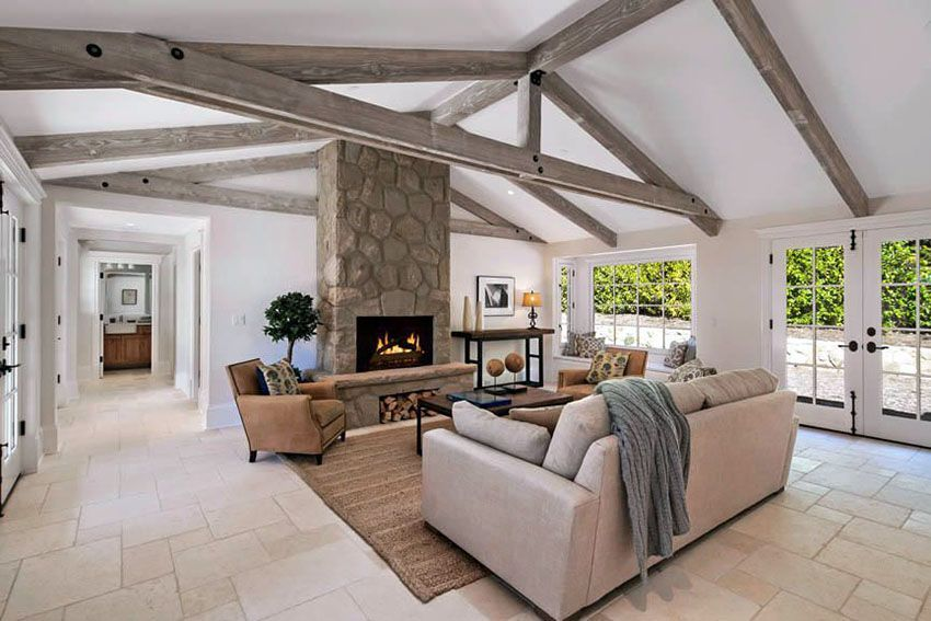 Rustic Farmhouse Living Room With Vaulted Ceiling And Tile Floor Farm House Living Room Rustic Living Room Rustic Farmhouse Living Room