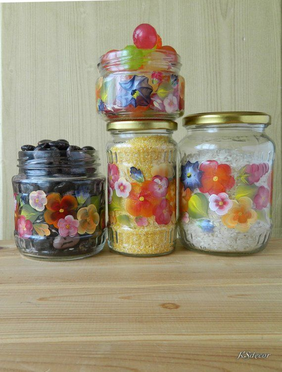 Colorful kitchen canisters set of 4 Glass cookie jar Hand ...