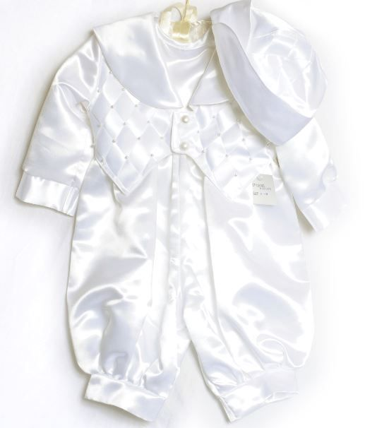9a105b942 A stunning baby boys satin romper suit a classic white satin romper ...