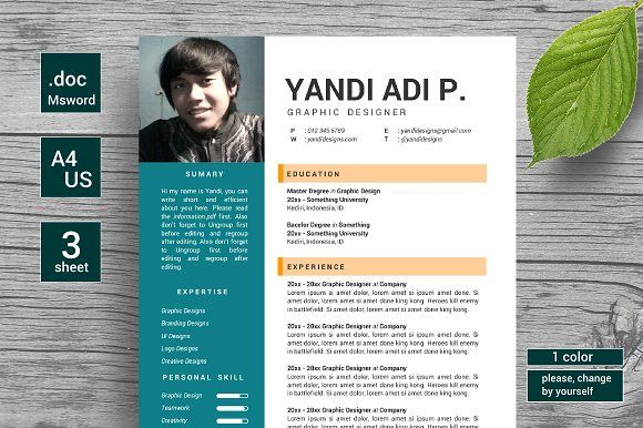 Flat Trendy Resumes / CV by YanBrothers Shop on @mywpthemes_xyz