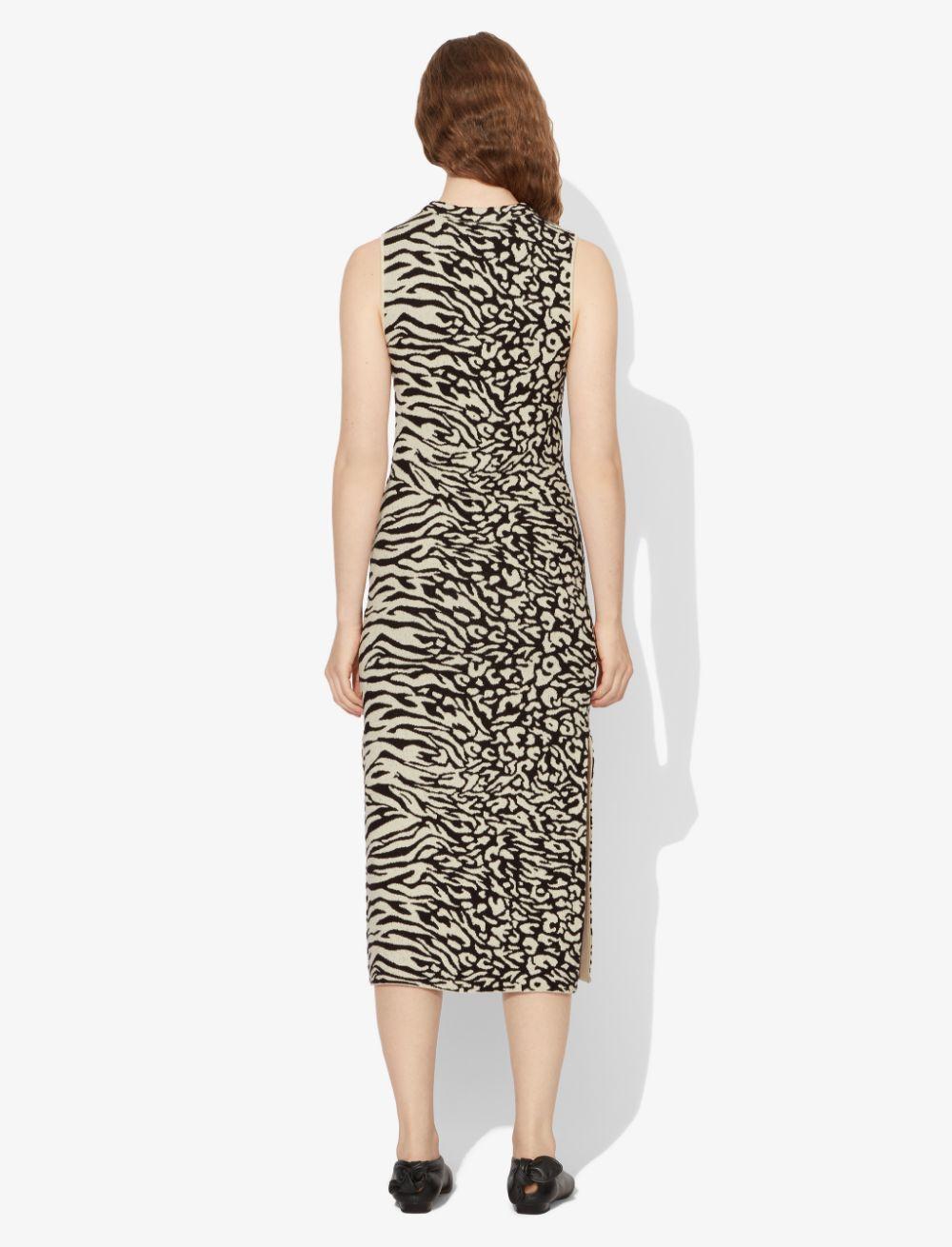 Proenza Schouler White Label Animal Jacquard Sleeveless Dress ecru/black XS