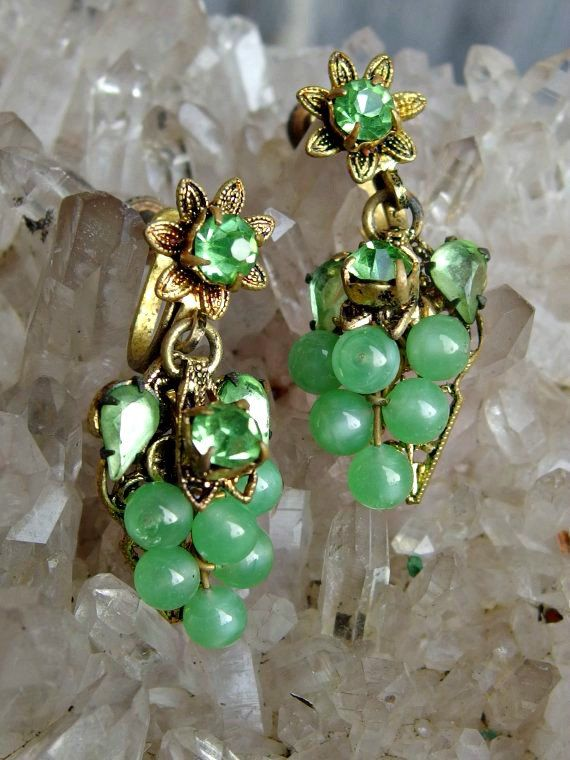 1960s Vintage Jade and Sterling Silver Earrings  Screw Back Earrings  Silver Filigree   Prong Set Jade Green  Gift for Her  Wife Gift