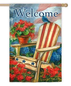 Patriotic Bluebird & Chair 'Welcome' Outdoor Flag   zulily