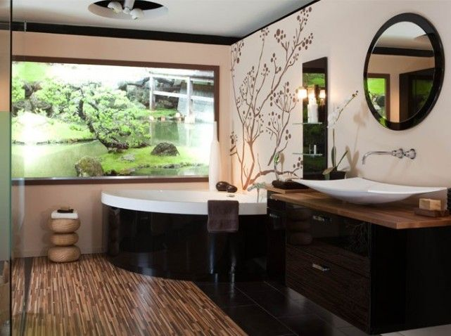 salle de bains japonaise inspiration asiatique. Black Bedroom Furniture Sets. Home Design Ideas
