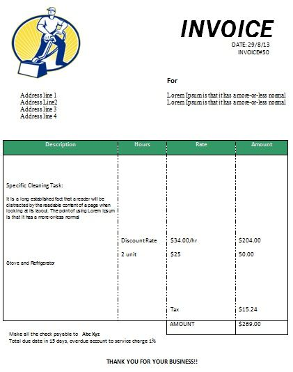 Cleaning Invoice Form Printable  Free Cleaning Invoice Templates